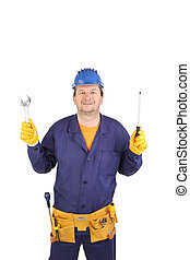 Worker holding screwdriver.