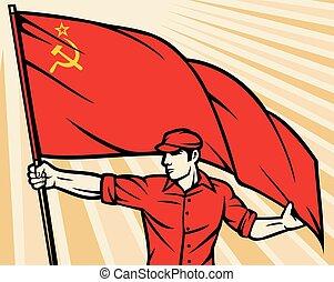 Worker holding USSR flag poster