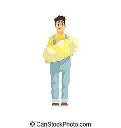 Worker Holding Wrapped Package In Hands, Delivery Company Employee Delivering Shipments Illustration