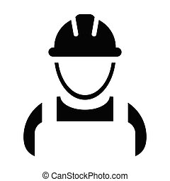 Worker icon vector male construction service person profile avatar with hardhat helmet in glyph pictogram illustration