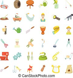 Worker icons set, cartoon style