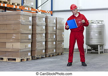 Worker in a company warehouse - Worker checking stocks in a...
