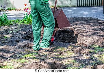 Worker in a garden