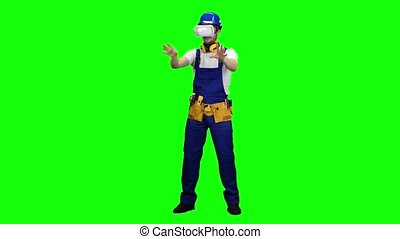 Worker in a helmet and in glasses of virtual reality. Green screen