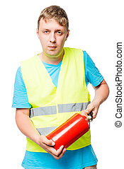 Worker in a vest with a fire extinguisher in hands on a white background