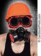 worker in biohazard mask