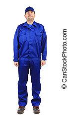 Worker in blue workwear.