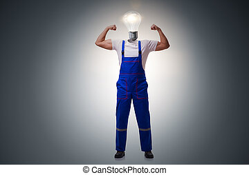 Worker in bright idea concept