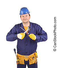 Worker in hard hat with screwdriver.