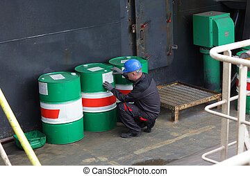 Worker in industrial plant - Industrial worker inspecting...