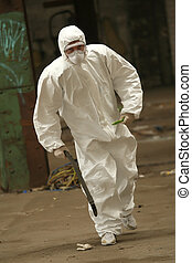 worker in mask running - worker in protective wear running...