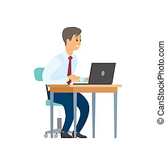 Worker In Office Sitting By Table with Laptop - Worker in ...