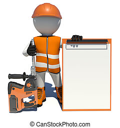Worker in overalls holding electric perforator and empty clipboard. Isolated