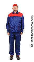 Worker in red-blue workwear.