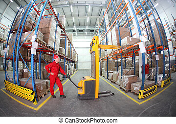 worker in red uniform at work