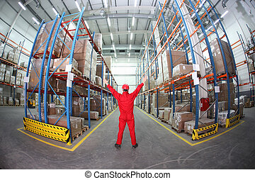 worker in storehouse
