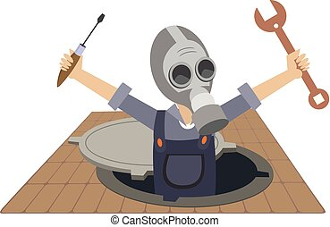 Worker in the gas mask working in the sewer manhole...