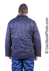 Worker in winter workwear. Back view. Isolated on a white...