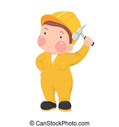 Worker in Yellow Work wear hammer