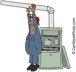 Worker installing a gas furnace - Illustration of a black...