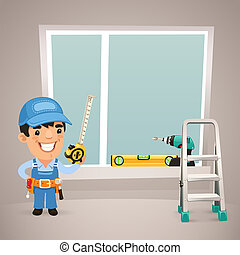 Worker Is Installing the Window. In the EPS file, each element is grouped separately. Clipping paths included in additional jpg format.