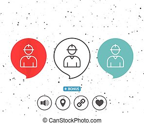 Worker line icon. Male Profile sign. - Speech bubbles with...