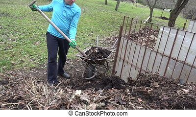 worker load compost fork - male worker gardener load compost...