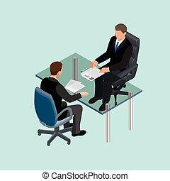 worker., métier, table., interviewer., candidat, embauche, meeting., 3d, isométrique, concept, recrutement, business, séance, gens, complet, interview., plat, location, illustration., ou, applicants.
