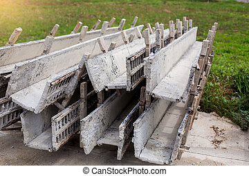 worker make wood formwork in site constroction ,workers column box preparation for cement in Home construction.