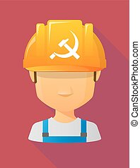 Worker male avatar wearing a safety helmet with  the communist symbol