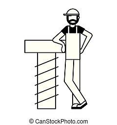worker man beard with tool screw