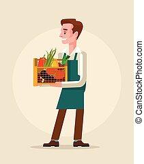 Worker man hold box full of vegetables. Vector flat cartoon illustration
