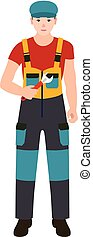 Worker man with key tool icon, flat style