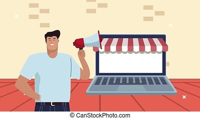 worker man with megaphone and laptop ecommerce ,4k video animated