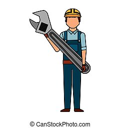 worker man with wrench tool