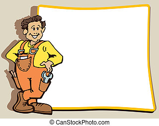 Worker - Manual worker is standing near a blank poster