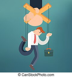 Worker marionette on ropes controlled boss hand. Vector flat...
