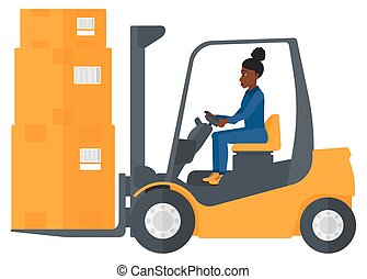 Worker moving load by forklift truck. - An african-american...