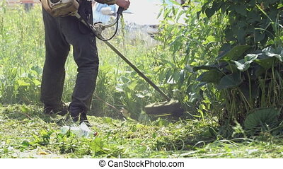 Worker mowing a grass using a trimmer outdoors