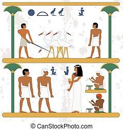 worker., noblewoman, ciconia, alog, arrière-plan., gens, scene., scribe, nouveau, embauche, egypte, ancien, waling, working., fonctionnement, homme, paysan, historique, farmind