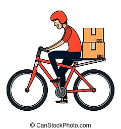 worker of delivery service in bicycle with boxes