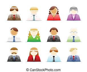 worker), (office, conjunto, gente, iconos