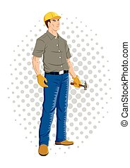 Worker on comic dots background