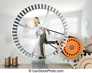 worker on duty - running woman on 3d hamster wheel