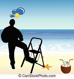 worker on the beach paradise vector illustration