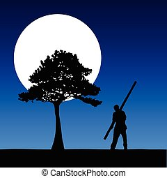 worker on the moonlight vector