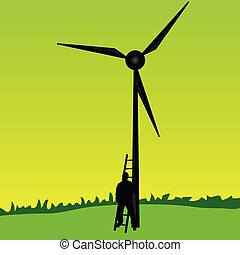 worker on the windmill vector illustration