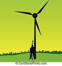 worker on the windmill vector illustration