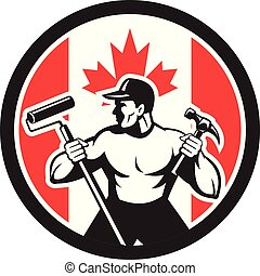 worker paintroller hammer CIRC-CAN-FLAG-ICON