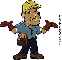 Worker in Hard Hat acting uncertain.